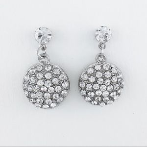 Rhinestone Silver Pavé-Set Dangle Earrings 2.86ct